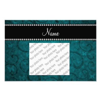 Name vintage teal swirls and butterflies photographic print
