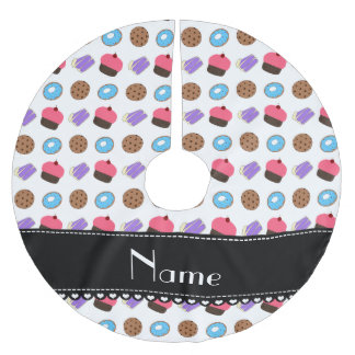 Name white cupcake donuts cake cookies brushed polyester tree skirt