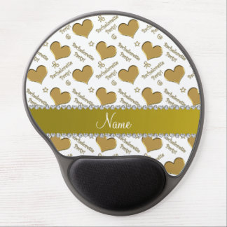 Name white gold hearts bachelorette party gel mouse pad