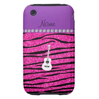 Name white guitar hot pink glitter zebra stripes iPhone 3 tough cases