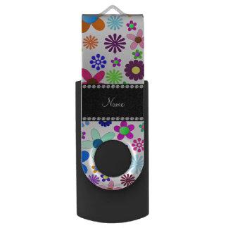 Name white transparent colorful retro flowers USB flash drive