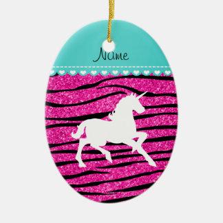 Name white unicorn hot pink glitter zebra stripes christmas ornament