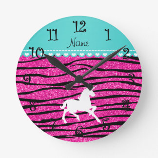 Name white unicorn hot pink glitter zebra stripes round clock