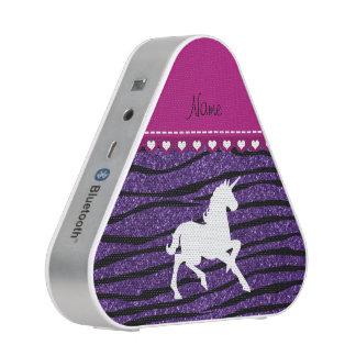 Name white unicorn purple glitter zebra stripes speaker