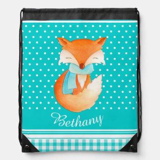 Name winter fox cub aqua drawstring bag