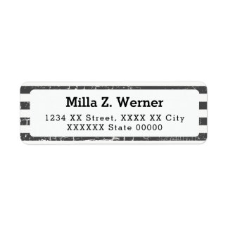 name with black stripes return address label