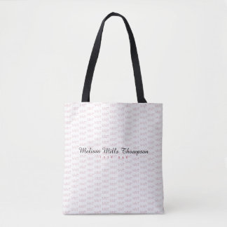 name with initials stylish tote bag