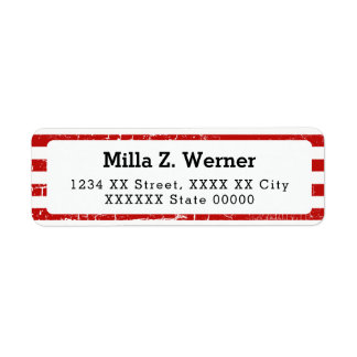 name with red stripes return address label