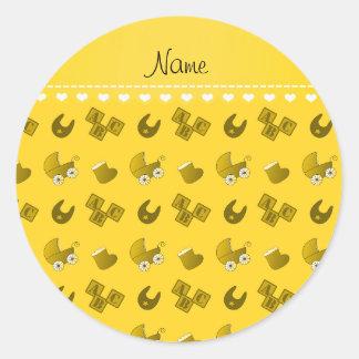 Name yellow baby bib blocks carriage booties round sticker