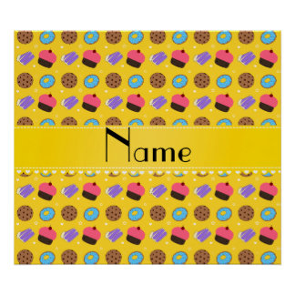 Name yellow cupcake donuts cake cookies poster