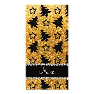 Name yellow glitter christmas trees stars photo greeting card