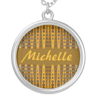 name yellow gold abstract round pendant necklace