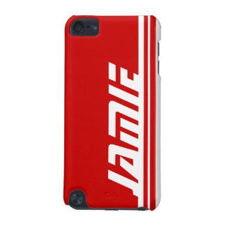 Named 5 letter red & white stripe sports ipod case