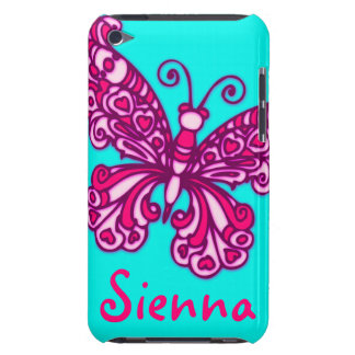 Named (6 letter) butterfly aqua pink ipod case Case-Mate iPod touch case