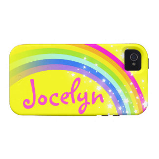 Named 7 letter rainbow yellow tough iphone case Case-Mate iPhone 4 covers