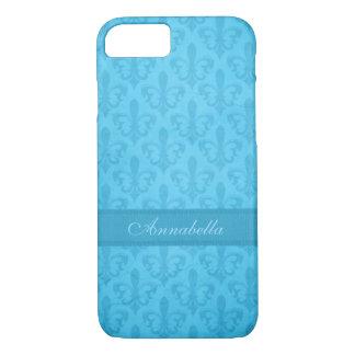 Named Fleur de Lis damask blue iphone case