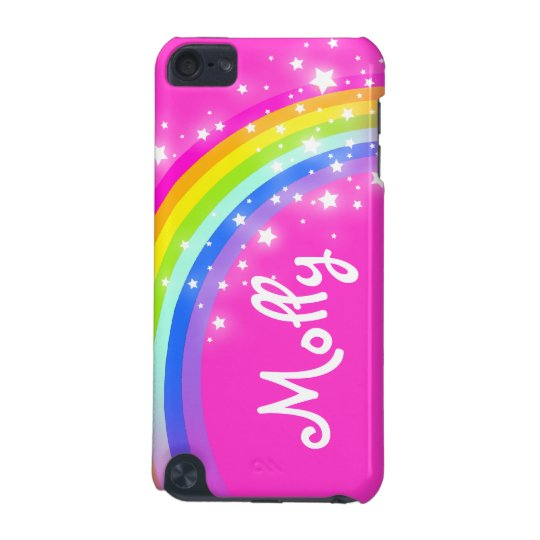 Named kids rainbow pink girl ipod case