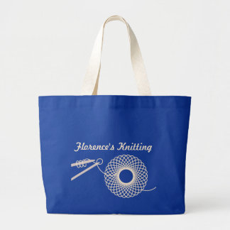 Named knitting cream wool bag