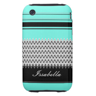 Named Mint Stripes and Chevron iPhone 3 Tough Cover