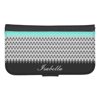 Named Mint Stripes and Chevron Samsung S4 Wallet Case