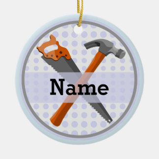 Named Personalized Tools design for boys. Christmas Ornament