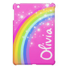 Named rainbow bright pink girls ipad mini case