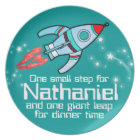 Named space rocket one step boys teal kids plate