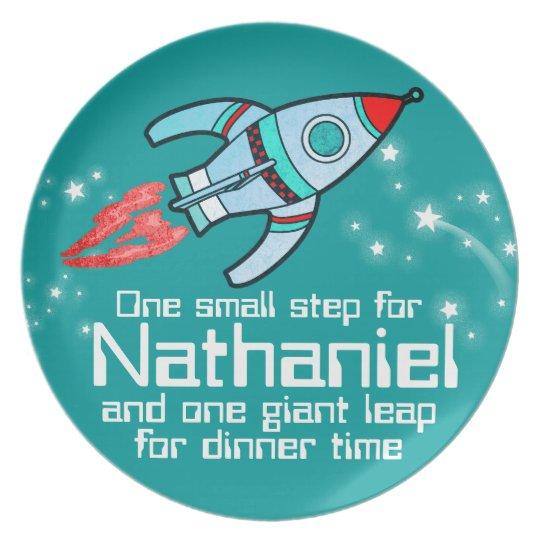 Named space rocket one step boys teal kids