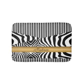 Named Zebra and Stripes Bath Mat