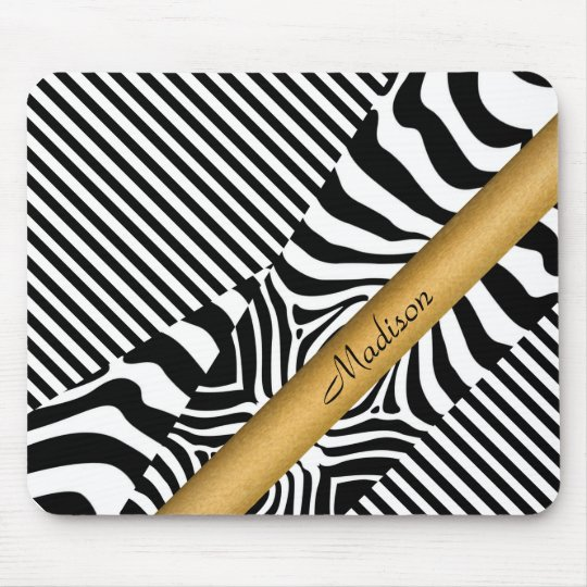 Named Zebra and Stripes Mouse Mat