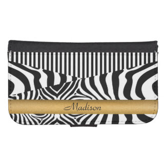 Named Zebra and Stripes Samsung S4 Wallet Case