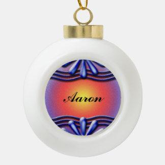 Nameplate Blue Ceramic Ball Christmas Ornament