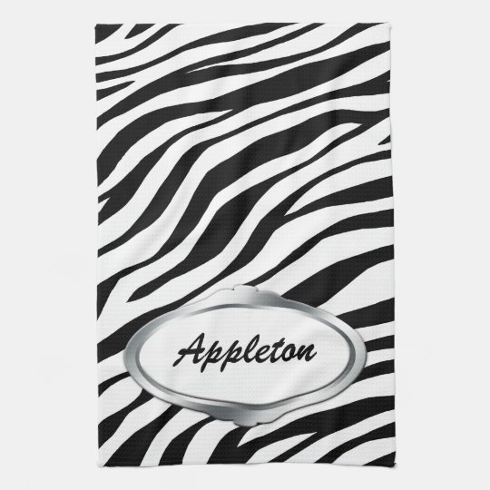 Nameplate Design Black & White Zebra Print Towel