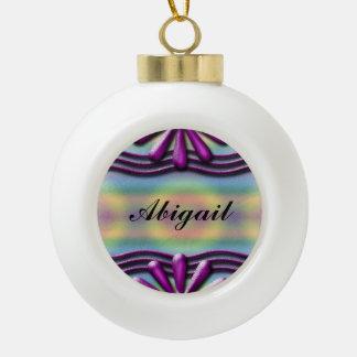 Nameplate Lilac Ceramic Ball Christmas Ornament