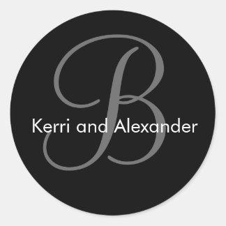 Names and Initial Monogram B Sticker Black & White