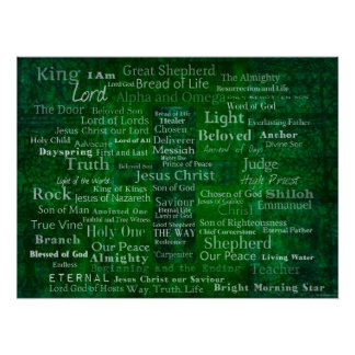Names and titles of Jesus MODERN DESIGN art Poster