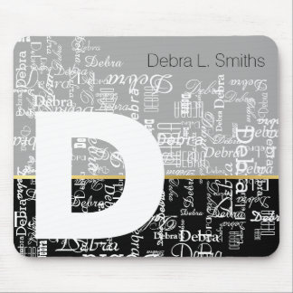 names and upper-case letter personalized mouse pad