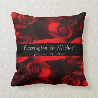 Names/Anniversary - Crimson Rose Bouquet [a] Throw Pillows