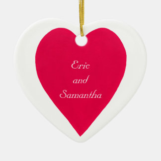 Names & Date Red Heart  Ornament