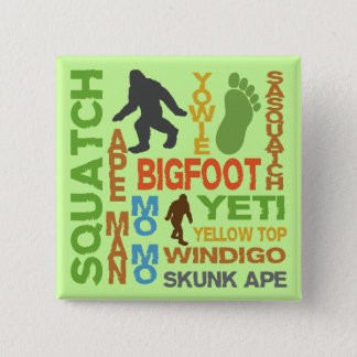 Names For Bigfoot 15 Cm Square Badge