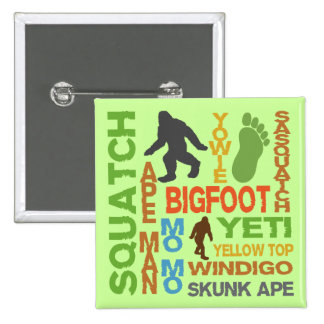 Names For Bigfoot 15 Cm Square Badge