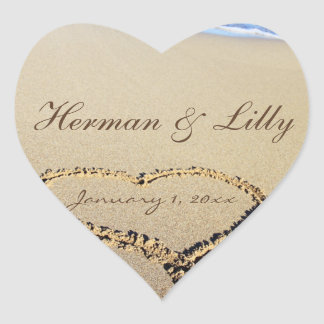 Names In The Sand Personalized Wedding Heart Sticker