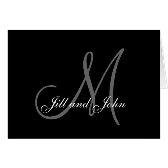 Names Initial Monogram Cards Weddings Black