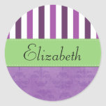 Names Initials Monograms Damask Purple, Green Round Stickers