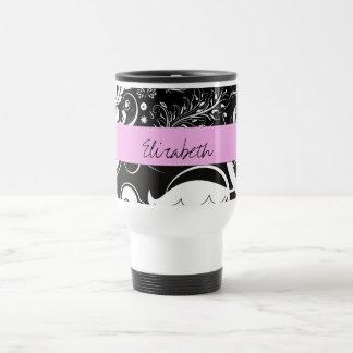 Names Initials Monograms Flowers Black White Pink Coffee Mugs