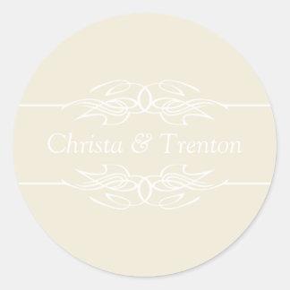 Names Invitation Eggshell Round Sticker