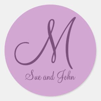 Names Monogram Mauve Wedding Favor Stickers