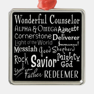 Names of God from the Bible in Black and White Christmas Ornament