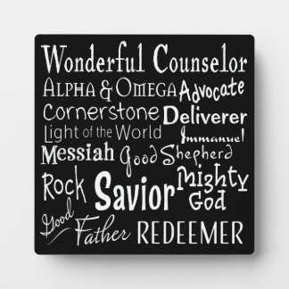 Names of God from the Bible in Black and White Photo Plaque