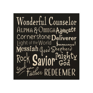 Names of God from the Bible on Black Wood Wall Art